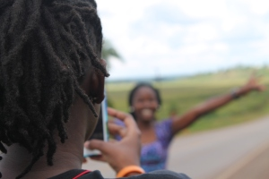 and this too, Jacky (with dreads) taking a photo of Joanne (the one smiling)