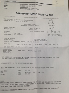 A booking ticket issued by the Israeli national Insurance company deporting a refugee from the country to Uganda
