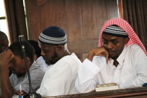 The suspects accused of master minding the July 11th bombings listen in to court proceedings.  Photo By: Halima Athumani